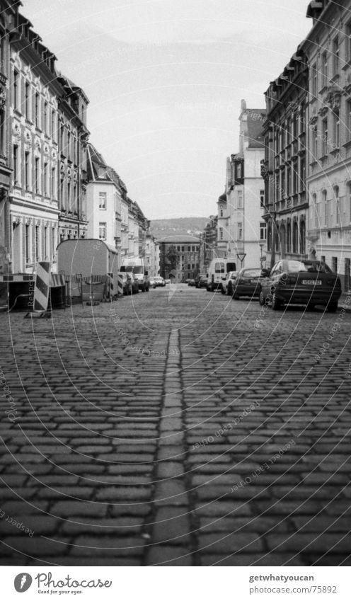 Sky City House (Residential Structure) Street Lanes & trails Car Line Black & white photo Deep Cobblestones Pigeon Alley Old building Saxony Vanishing point Vogtlandkreis
