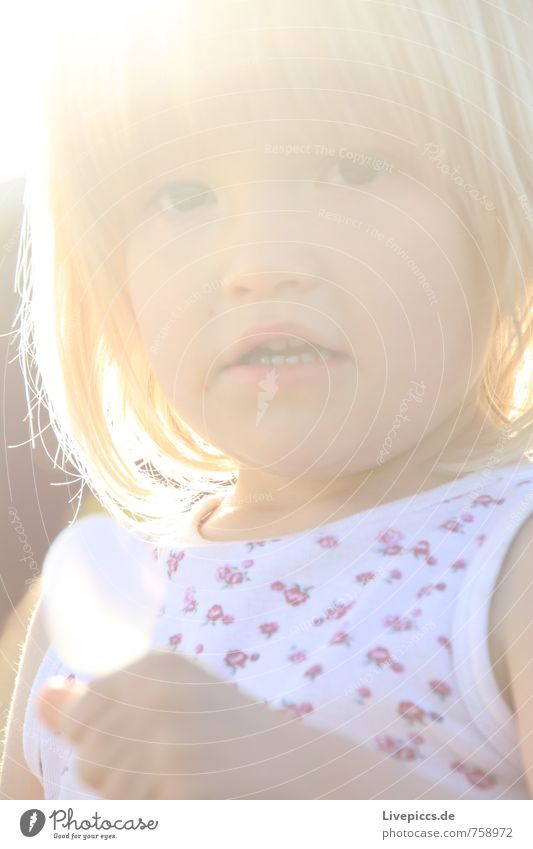 M.E.W. Human being Feminine Child Girl Head 1 3 - 8 years Infancy Sun Sunlight Looking Beautiful Warmth Soft Colour photo Exterior shot Day Light Sunbeam