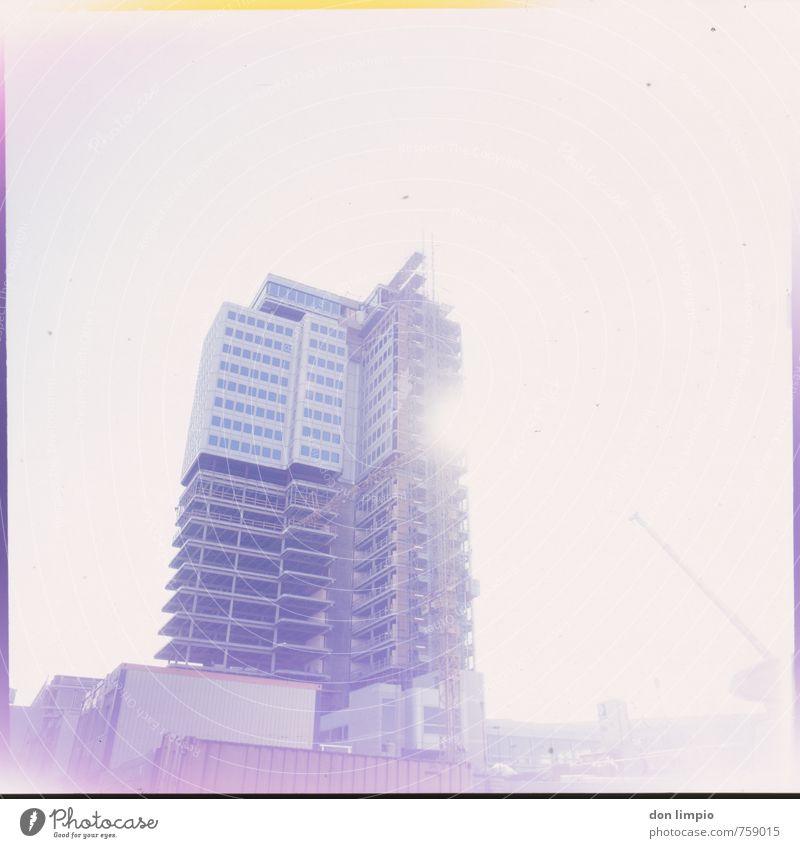City Architecture Building Bright Glittering High-rise Tall Construction site Violet Cloudless sky Capital city Analog Surrealism Center point Overexposure