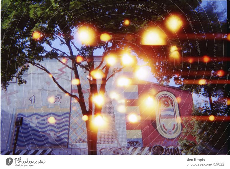 ball lightning gang bang Art Work of art Culture Tree Town Factory Facade Sphere Flying Glittering Bright Multicoloured Surrealism Trashy Light leak