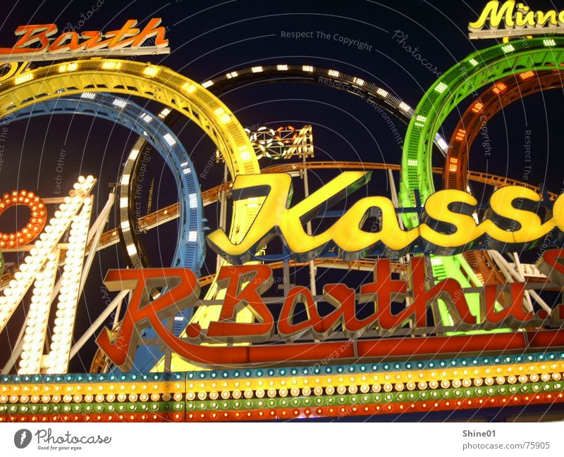 Lamp Fairs & Carnivals Neon light Oktoberfest Visual spectacle Cash register Neon sign Roller coaster