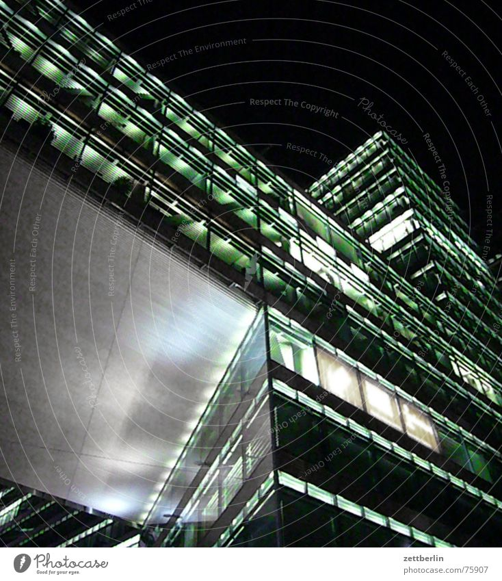 House (Residential Structure) Berlin Architecture Glass Facade Concrete Modern High-rise Steel Upward Office building Night shot Glas facade New building
