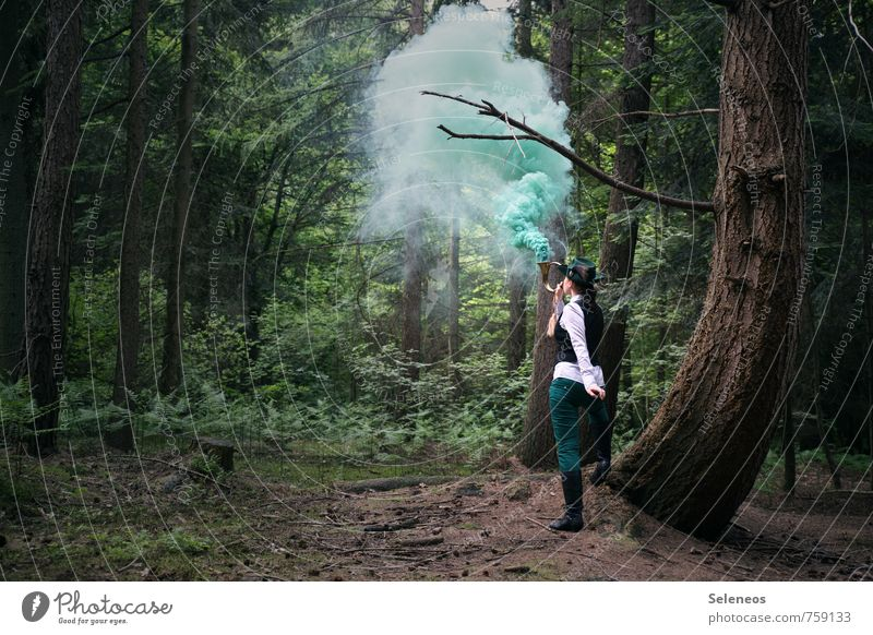 smoke sign Trip Adventure Human being Feminine Woman Adults 1 Environment Nature Landscape Forest Communicate Smoke signal Forester Colour photo Exterior shot