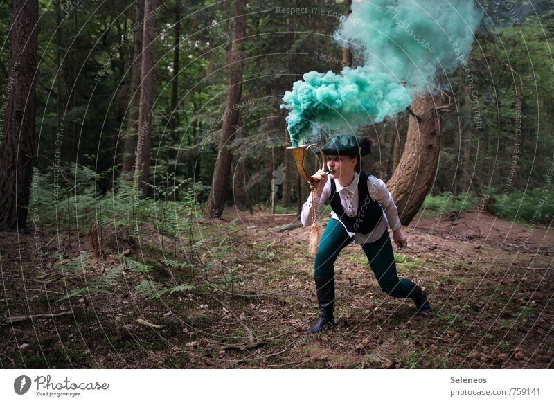 Attention, attention! Human being Feminine Woman Adults 1 Environment Nature Forest Hunting Communicate Attentive Watchfulness Smoke signal Forester Cor anglais