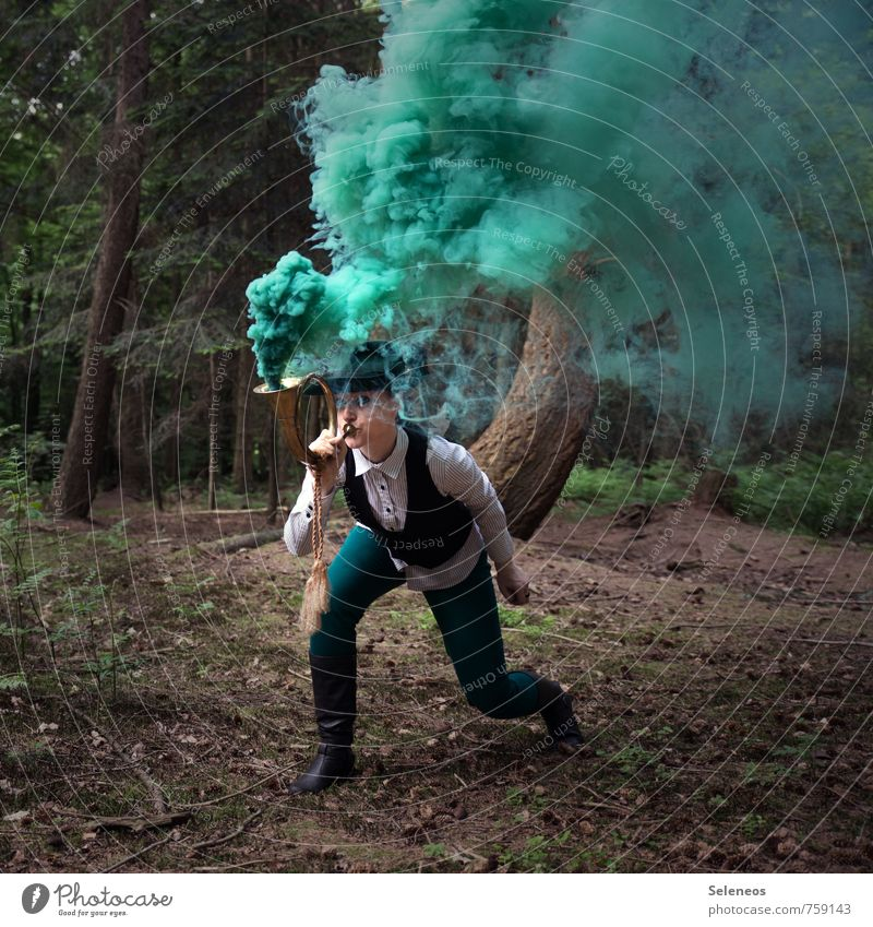 alarm Adventure Freedom Forester Agriculture Forestry Human being Feminine 1 Environment Nature Plant Tree Hat Cor anglais Threat Smoke Colour photo