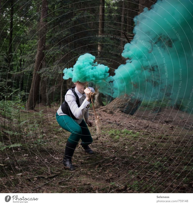 steam hood Trip Adventure Freedom Profession Forester Economy Human being 1 Environment Nature Landscape Plant Tree Moss Clothing Pants Green Cor anglais Smoke
