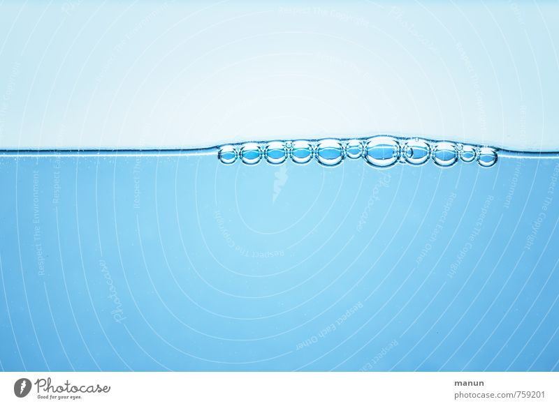 waterline Beverage Drinking water Water Drops of water Surface of water Bubble Wet Natural Blue Ease Pure Colour photo Close-up Detail Underwater photo Deserted