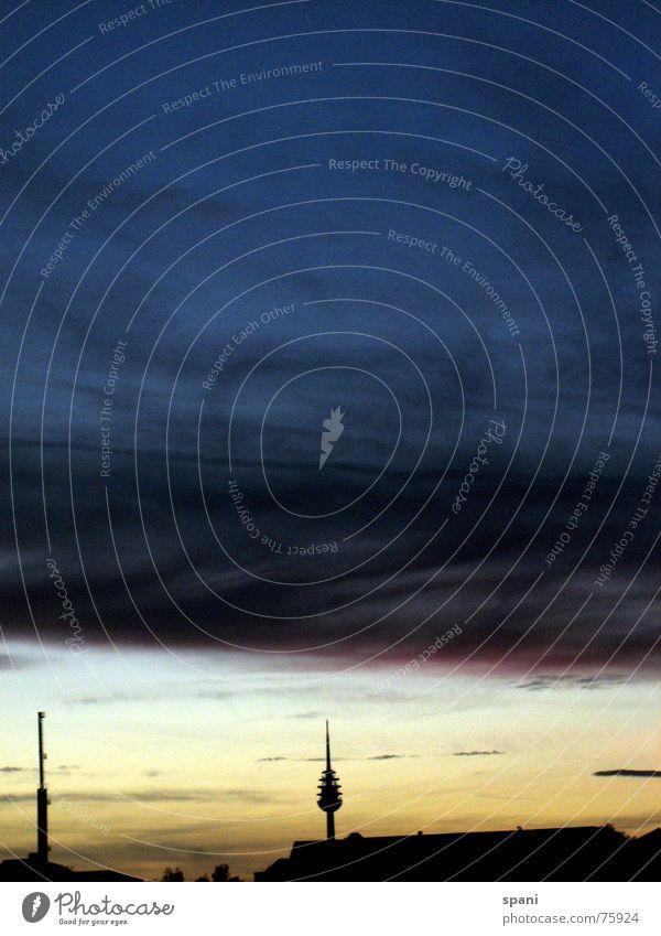 Clouds over the horizon Nuremberg Sunset Autumn Landmark Doomed Transmitting station Berlin TV Tower Sadness
