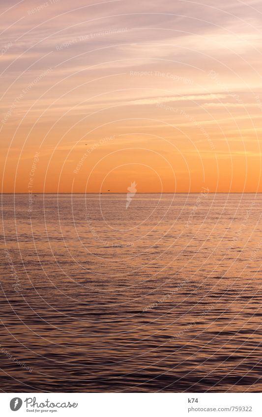 Sky Nature Water Ocean Landscape Calm Far-off places Spring Moody Horizon Dream Orange Waves Illuminate Large Fresh