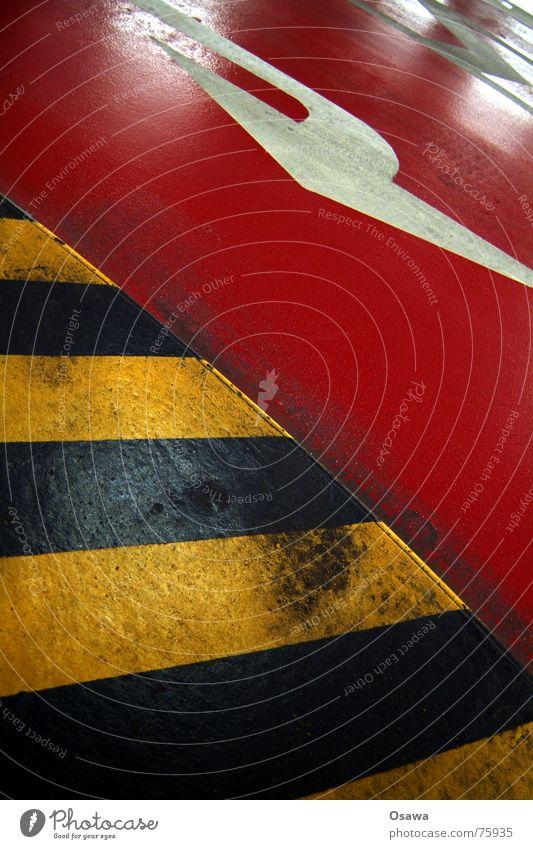 that way Red Yellow Black Striped Underground garage Traffic lane tigerente Respect Arrow Street