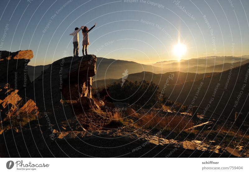 Nature Sun Landscape Calm Far-off places Environment Mountain Emotions Freedom Rock Moody Couple Friendship Together Stand Beautiful weather