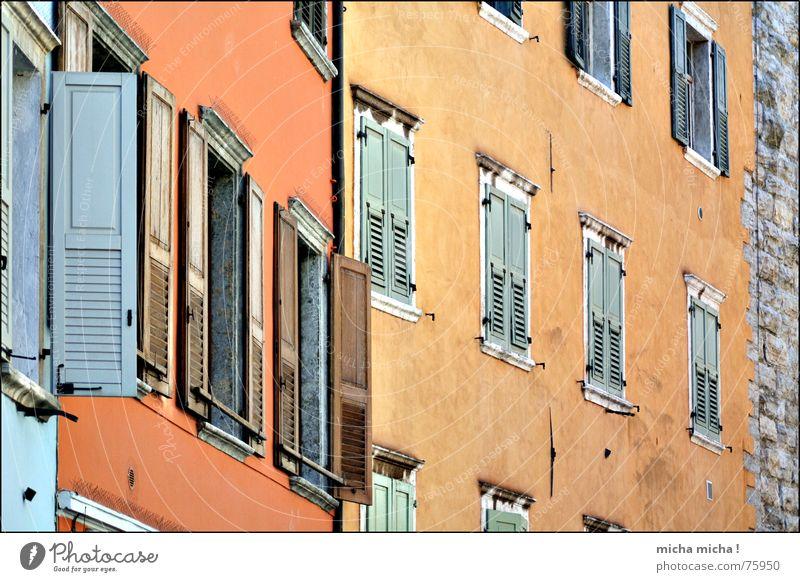 windows open, windows close Window Shutter Facade House (Residential Structure) Alley Lake Garda Italy Multicoloured Arco Mediterranean