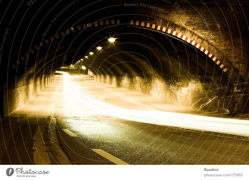 tunnel vision Night Light Driving Heat Long exposure Motoring Driver Traffic lane Tunnel Night journey Leadfoot Speed Reflection Tunnel vision Pavement Car