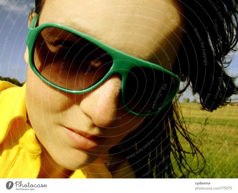 View to the sun Sunglasses Summer Sunbeam Light Pleasant Portrait photograph Woman Illuminate Warmth Wind Hair and hairstyles Blow Landscape Face Human being