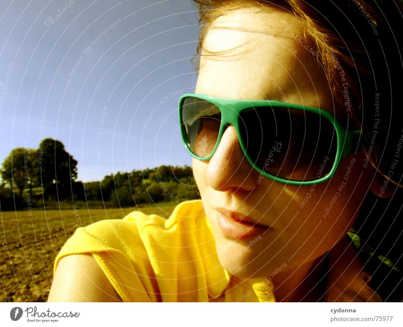 View to the sun II Sunglasses Summer Sunbeam Light Pleasant Portrait photograph Woman Illuminate Warmth Wind Hair and hairstyles Blow Landscape Face Human being