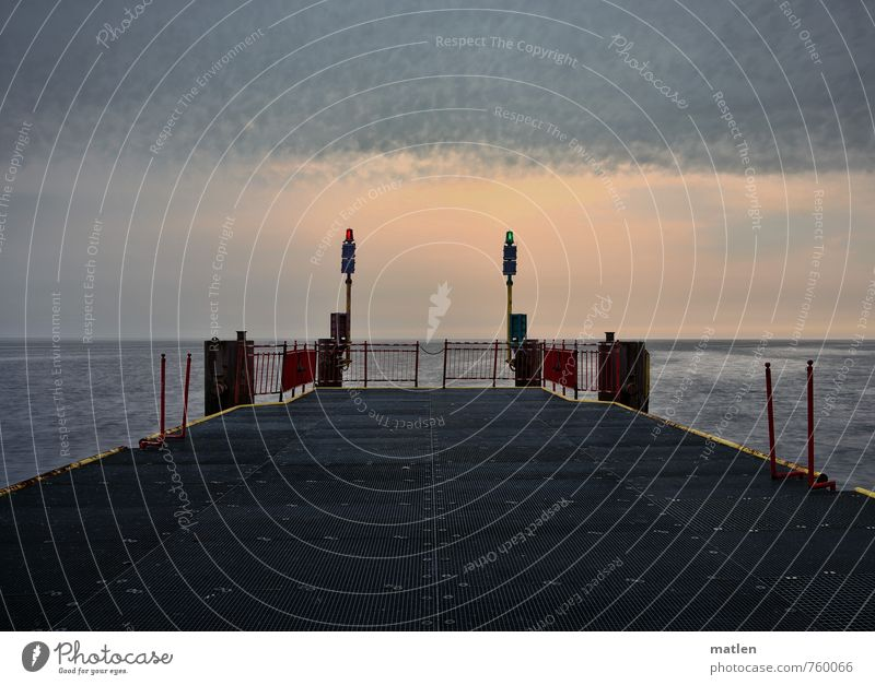 Sky Ocean Red Landscape Clouds Gray Horizon Weather Waves Threat Bridge Navigation Jetty Metal grid