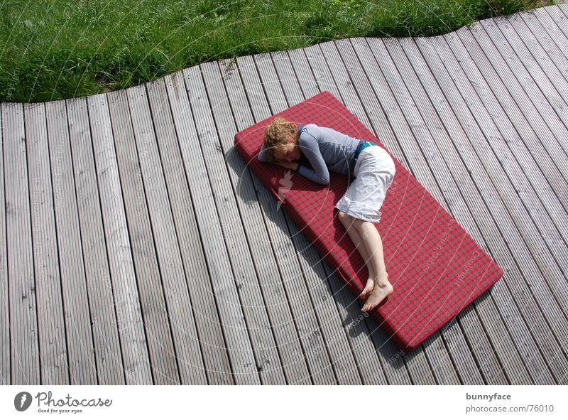 Woman Red Calm Relaxation Grass Warmth Sleep Bed Lie Switzerland Physics Fatigue Wooden board Alpine pasture Siesta