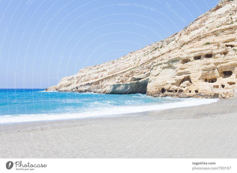 HIPPIE CAVES OF MATALA Crete Greece matala Matala Beach Hippie hippie caves Cave Vacation & Travel Travel photography Idyll Freedom Card Tourism Sunbeam Summer