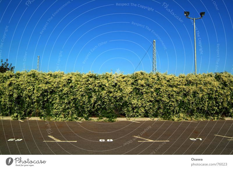 parking space Asphalt Lantern Sky blue Overhead line Parking lot Digits and numbers knotweed architectural gratings Blue catenary support Signs and labeling