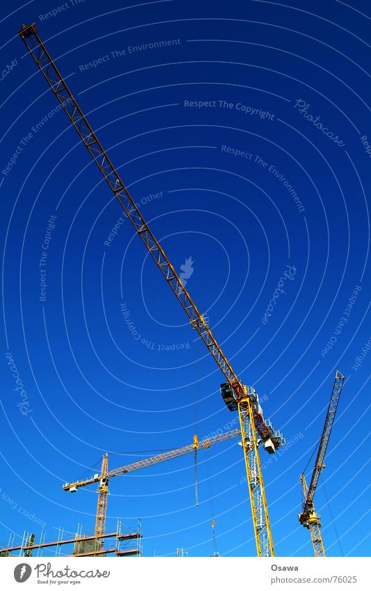 construction cranes Crane Outrigger Sky blue Construction site Blue Build