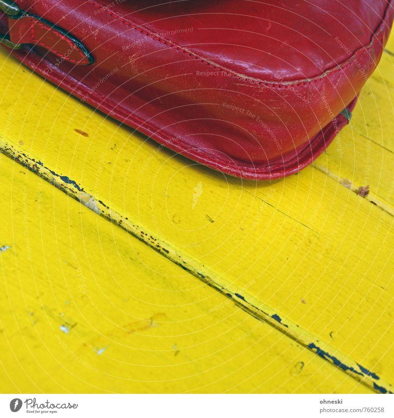 Old Red Yellow Wood Table Bag Leather Handbag