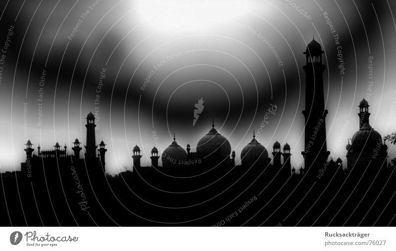 Night over Pakistan Mosque Lahore Minaret onion roofs Filter Tower dark sky