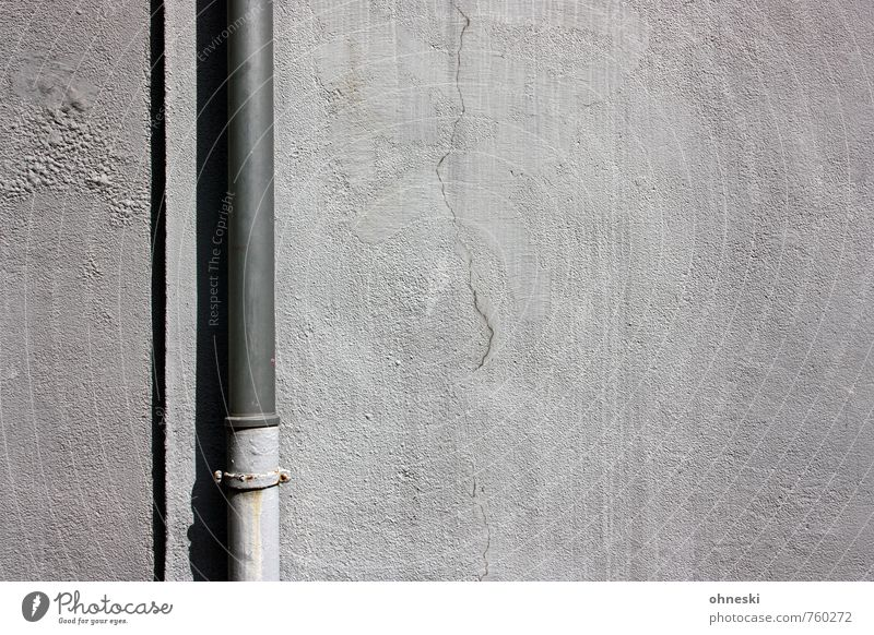 against the wall House (Residential Structure) Wall (barrier) Wall (building) Facade Downpipe Line Gray Technology Metal Colour photo Subdued colour