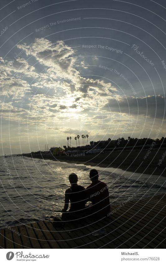 Sky Sun Ocean Beach Love Clouds Friendship Together Footbridge Goodbye