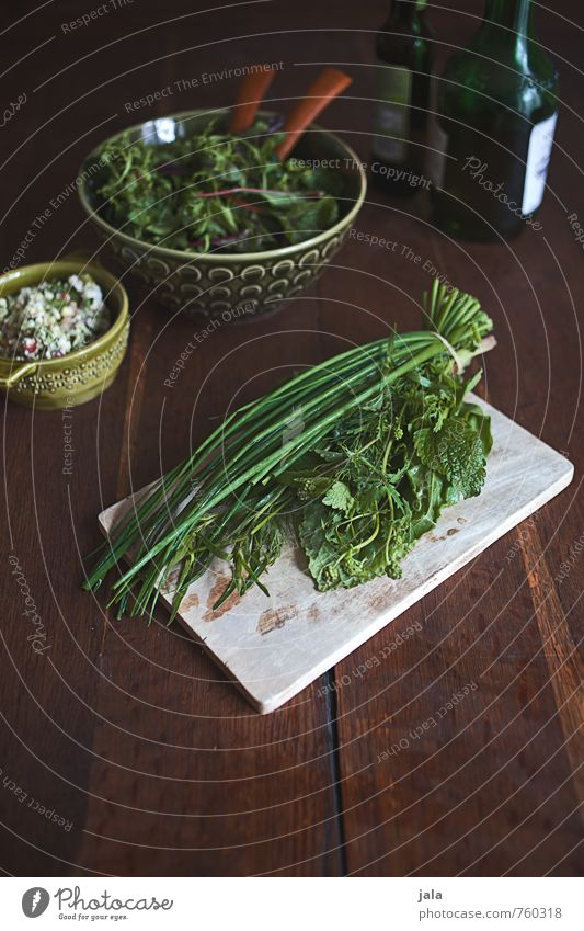 herbs Food Lettuce Salad Herbs and spices Cooking oil Nutrition Organic produce Vegetarian diet Bowl Chopping board Fresh Healthy Delicious Wooden table