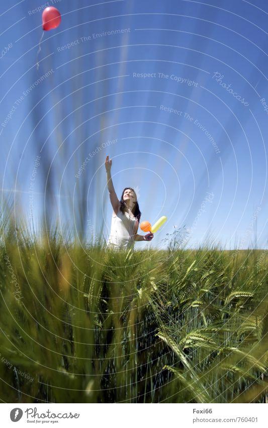 Woman Sky Blue Green Red Landscape Joy Adults Love Feminine Spring Freedom Dream Field Contentment Illuminate
