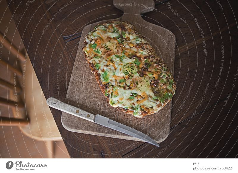 pita bread pizza Food Pizza Nutrition Lunch Dinner Vegetarian diet Fast food Finger food Knives Wooden board Chopping board Chair Table Good Delicious Appetite