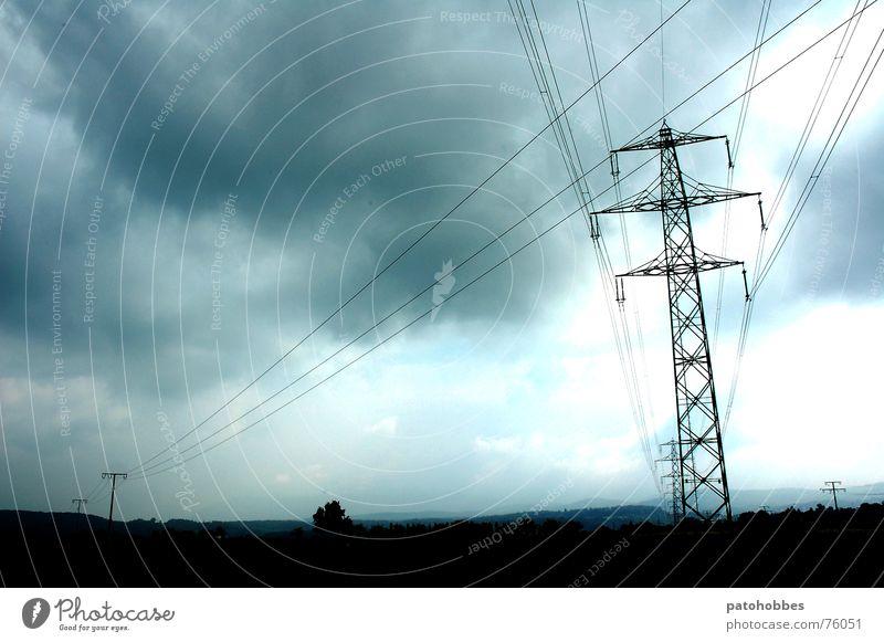 Autumn 06.1 Clouds Bad weather Dark Threat Gray Deep Raincloud Electricity pylon Electrical wire Monochrome Far-off places Point Exterior shot Landscape