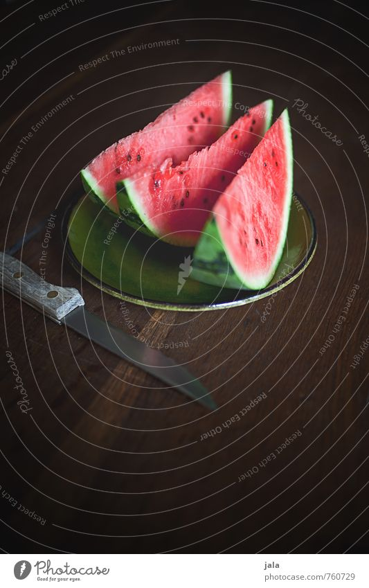 melon Food Fruit Melon Nutrition Organic produce Vegetarian diet Finger food Plate Knives Healthy Delicious Sweet Appetite Wooden table Colour photo