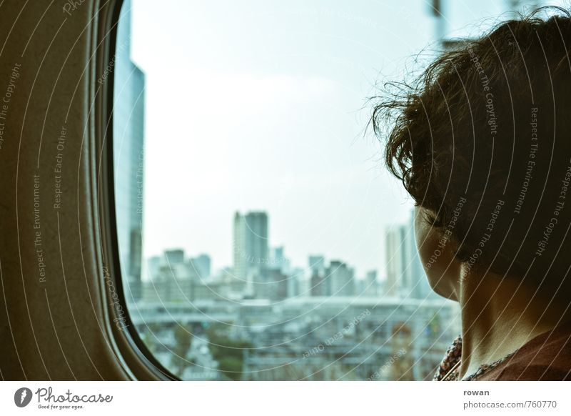Human being Woman Vacation & Travel Youth (Young adults) City Young woman House (Residential Structure) Adults Feminine Train window City life High-rise Vantage point Railroad Adventure Bank building