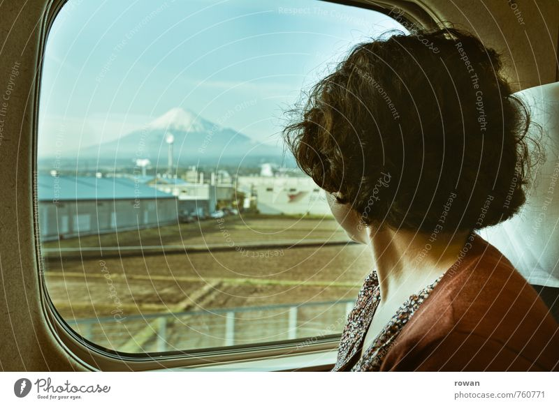 mt fuji Human being Feminine Young woman Youth (Young adults) 1 Rail transport Train travel Railroad Passenger train Train compartment Vacation & Travel