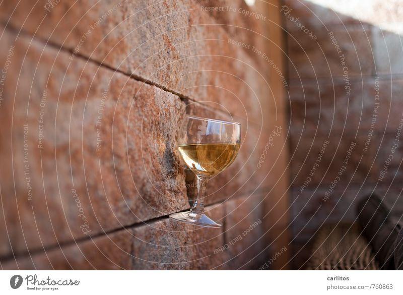 tartar Beautiful weather Wall (barrier) Wall (building) Esthetic Glass Wine glass Seam Tilt Sandstone Leisure and hobbies Boredom Break Relaxation Lounge