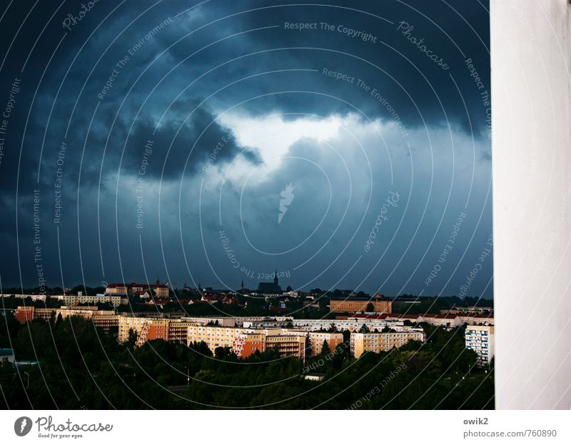 threatening backdrop Environment Nature Storm clouds Horizon Climate Weather Bad weather Wind Gale Thunder and lightning Bautzen Germany Small Town Downtown