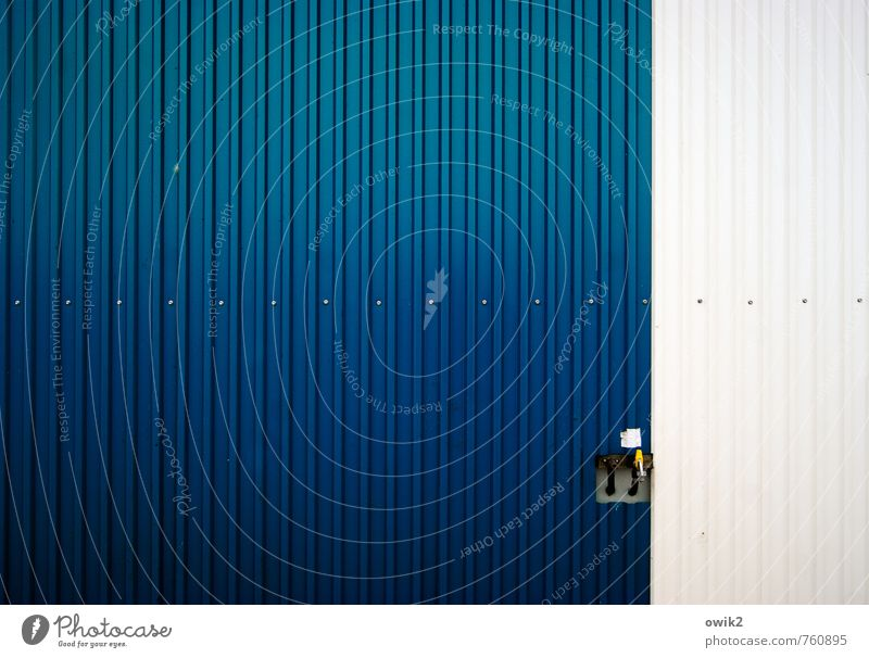 tap Technology Container Tin sheet metal Tap Metal Simple Blue White Colour photo Exterior shot Close-up Detail Abstract Deserted Copy Space left
