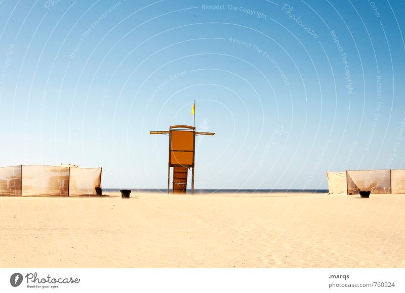 On the beach Vacation & Travel Tourism Summer vacation Beach Sand Cloudless sky Horizon Beautiful weather Lookout tower porch Relaxation Bright Warmth