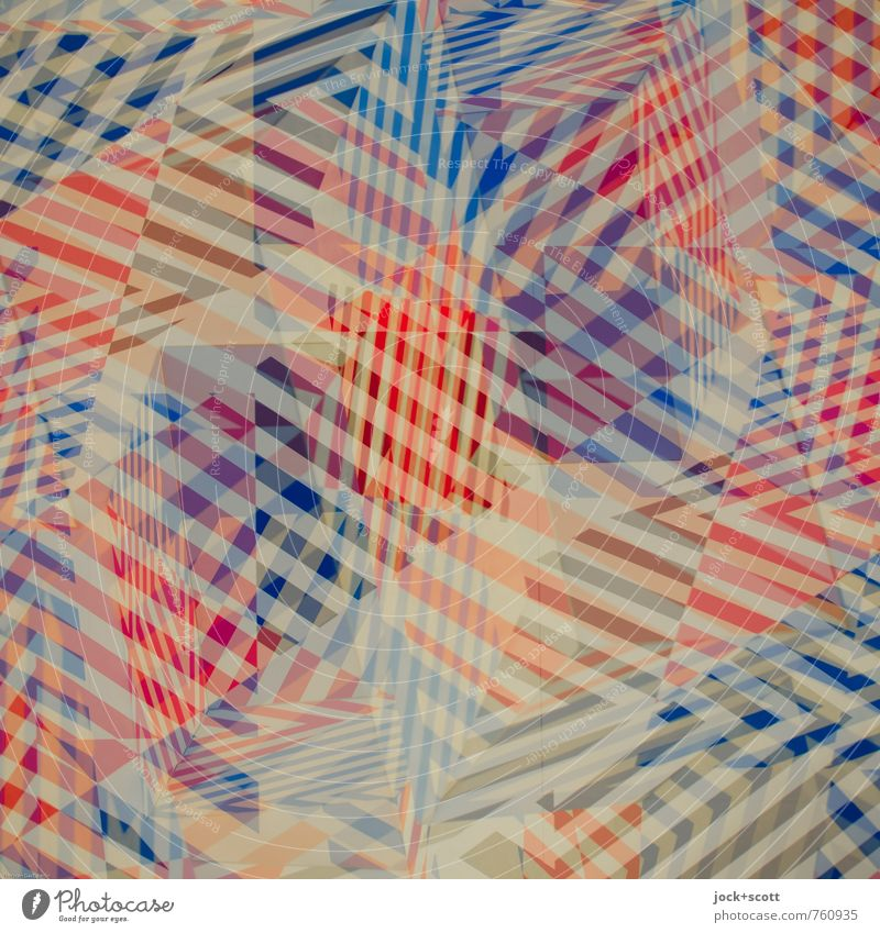 Confusion Colour space Illustration Stripe Network Checkered Sharp-edged Blue Red Variable Chaos Complex Surrealism Irritation Double exposure Asymmetry
