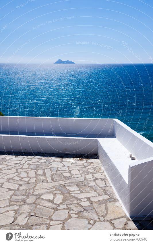Greek Bank on the Abyss Vacation & Travel Summer Summer vacation Sunbathing Ocean Island Waves Cloudless sky Sunlight Beautiful weather Coast Mediterranean sea