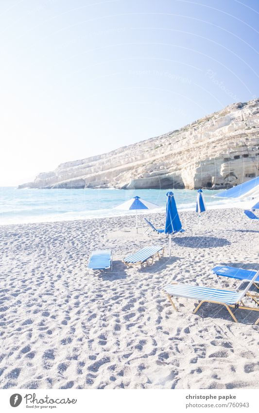 Beach of Matala / Crete Vacation & Travel Tourism Summer Summer vacation Sun Sunbathing Ocean Island Waves Coast Mediterranean sea matala Greece Deserted Bright