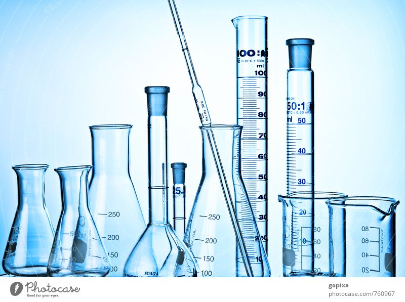 Pipette, glass flask and bore gauges against a blue background Science & Research Laboratory scale Glass vessels Blue Investigate investigation Banner Measure