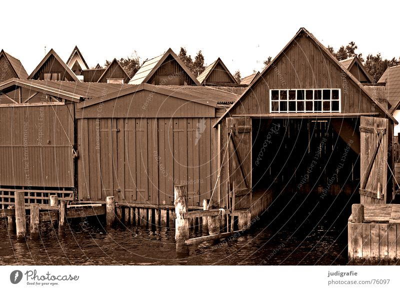 House (Residential Structure) Above Wood Lake Watercraft Door Empty Roof Harbour Point Gate Hut Electricity pylon Pole Darss Boathouse