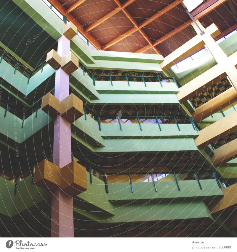 Muted colours House (Residential Structure) Architecture Havana Cuba Deserted High-rise Building Facade Balcony Roof Gallery Column Wooden roof Story Above Dry