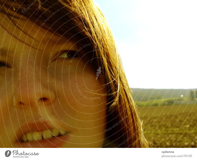 Woman Human being Sun Summer Face Hair and hairstyles Warmth Landscape Wind Illuminate Blow Partially visible Pleasant Tooth space