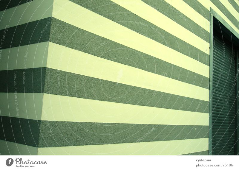 Green House (Residential Structure) Building Line Architecture Facade Perspective Modern Corner Living or residing Stripe Painting (action, work) Gate Reduce Minimalistic Interesting