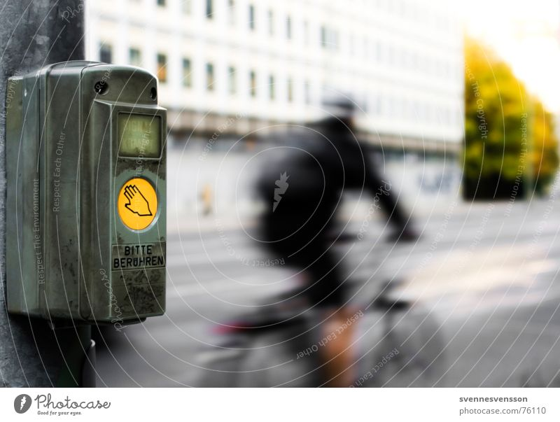 Roads crossing permit catching up! Bicycle Technology Town Transport Street Traffic light Touch Movement Contact Action Traffic engineering Access Admission