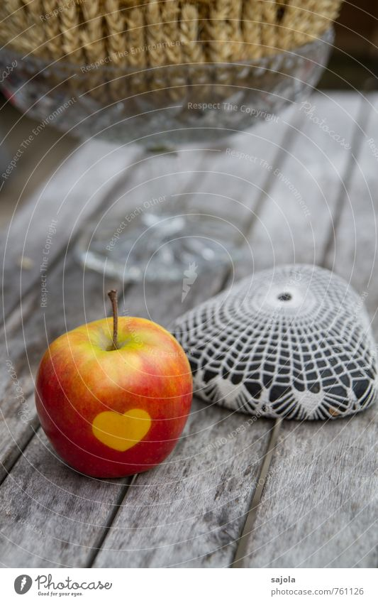 sweetheart Food Fruit Apple Stone Wood Glass Sign Heart Lie Gray Red Decoration Wooden table Table decoration Ear of corn Crocheted Still Life Thanksgiving
