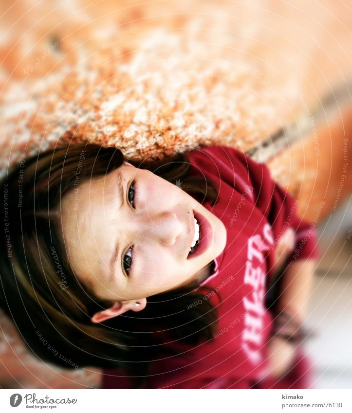 Girl Red Eyes Floor covering Child Dance floor Fleeting glance
